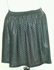 BLACK Faux Leather PU PERFORATED SKATER SKIRT XS/S uk10eu36us6 Waist w24in w61cm