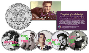 ELVIS PRESLEY 1956 #1 SONG HITS Licensed JFK Kennedy Half Dollars 5-Coin U.S Set