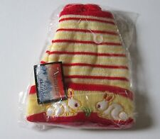 NEW Baby toddler red and yellow beanie rabbit hat pom poms christmas winter