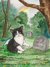 1.5x2 DOLLHOUSE MINIATURE PRINT OF PAINTING RYTA 1:12 SCALE TUXEDO CAT KITTEN