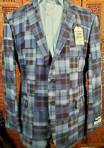 NEW Jos A Bank 1905 42R Blue Madras Patchwork Plaid Tailored Fit Sport Coat $398
