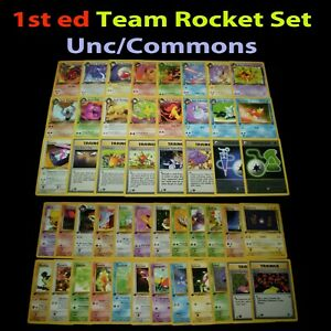 LP/NM 1st edition COMPLETE Pokemon TEAM ROCKET Card UNCOMMON/COMMON First Ed Set