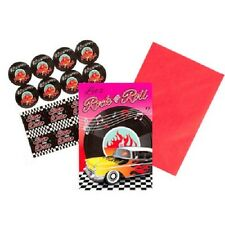 CLASSIC 50'S ROCK N ROLL INVITATIONS PACK OF 8 50'S PARTY SUPPLIES INVITES
