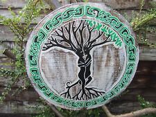 Hand Carved Made Wooden Celtic Knot Tree Couple Wall Art Hanging Plaque Sign