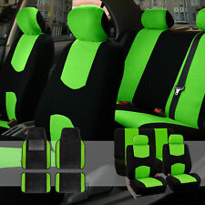 Car Seat Covers Set for Auto Black Green with Carpet Floor Mat