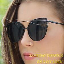 Para mujeres celebridad de gran tamaño de Lujo Negro Lentes Espejados Ojo De Gato Diseñador Gafas De Sol