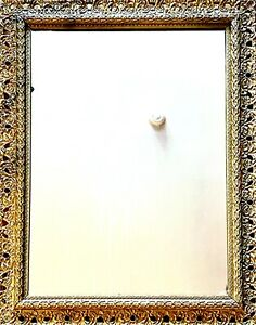 """Refurbished 28"""" x 36"""" Antique Gold Leaf Trimmed Baroque Wall Mirror Mint Cond."""