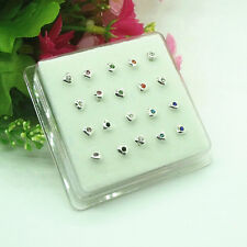 Wholesale 20PCS Solid Sterling silve Mixed Heart star Straight Bar Rod Nose Stud