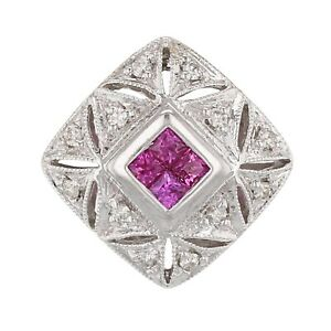 18k White Gold 0.15ctw Ruby & Sapphire Vintage Style Floating Pendant