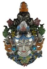 Tibetan Goddess Tara Face Mask Decorative Wall Hanging White Metal Statue Idol C
