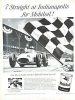 1957 Mobiloil Vintage Print Ad Indianapolis 500 Driver Sam Hanks Race Car