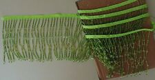 "70"" Vintage Czech Lamp Shade Beading Beaded Fringe Trim Green Czechoslovakia"