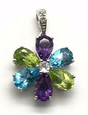 Sterling Silver 925 Colorful Gemstones Peridot Amethyst Topaz CZ Flower Pendant