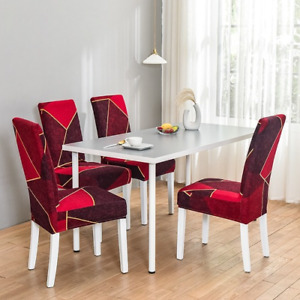 Geometric Dining Chair Cover Spandex Elastic Chair Slipcover Stretch  Covers 1PC
