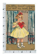 H B Griggs Valentine Postcard - HBG L and E - Girl w Heart - Leubrie and Elkus