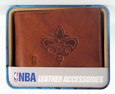 New Orleans Hornets Embossed Leather Billfold Wallet NEW in Gift Tin