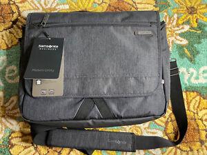 NWT Samsonite MODERN UTILITY MESSENGER BAG Laptop Traveler CHARCOAL HEATHER GREY