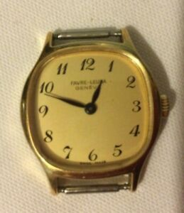 Vintage Favre Leuba Watch Swiss Made Gold Colour White Metal Back. No strap.
