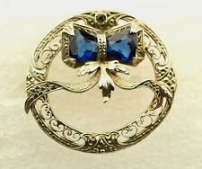 ANTIQUE OSTBY & BARTON 14K WHITE GOLD FILIGREE CIRCLE PIN WITH BOW & BLUE STONES