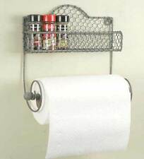 Country new chicken wire wall caddy w/bin and paper towel holder /nice