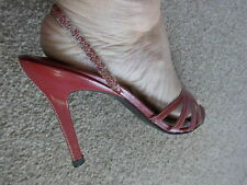 RIVER ISLAND SEXY RED AND WHITE HEELED SLINGBACKS PARTY CRUISE WEDDINGS SIZE 6
