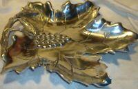 Vintage Pewter Grape Leaf-Vine-Bunch Serving Platter~Fruit Tray~Centerpiece   21