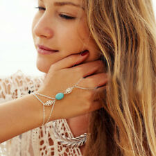 Bohemian Silver Bracelet With Ring Blue Bridal Hand Chain Style Turquoise