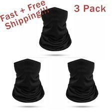3 PACK Black Face Mask Bandana Breathable Scarf Neck Gaiter Reusable UV Headwear