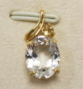 SYJEWELLERY FINE 9CT YELLOW GOLD OVAL NATURAL WHITE TOPAZ & CITRINE PENDANT P802