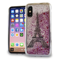 For iPhone X - Silver Eiffel Tower Paris Glitter Stars Liquid Water Case Cover