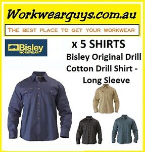 5 x SHIRTS BISLEY WORKWEAR - Cotton Drill Work Shirt - Long Sleeve BS6433