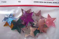 15 sew sur Star à facettes bijoux gems 22mm couleurs mélangées dos plat coquillages
