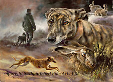 A Grand Night Out, Lurcher and rabbit poaching fine art print by Mick Cawston