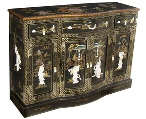 "oriental furniture black lacquer cabinet 48"" Chinese Cupboards credenza"
