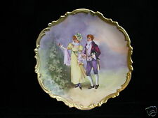 "Porcelain Artist Signed Decorator Plate - LHL Limoges ""Courting Scene"" c:1920"
