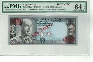 AFGHANISTAN P# 42bs 1963 (ND) 1000 AFGHANIS SPECIMEN PMG 64 EPQ CHOICE UNC