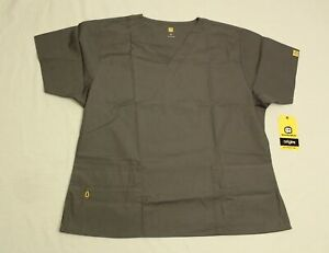 WonderWink Womens Origins Bravo 5-Pocket V-Neck Scrub Top DG4 Pewter Size XL NWT