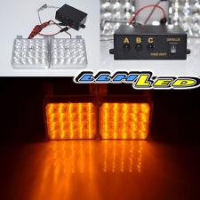 2 x 20 LED Panels Emergency Hazard Warning Bright Strobe Lights Amber Yellow