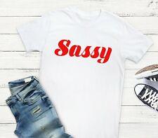 Sassy - Red Font Statement Slogan Insta Diva White Unisex Fit T-Shirt Tee