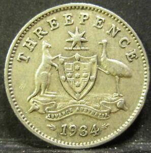 1934 Australia 3d Threepence #RB334-1