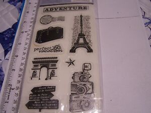 CLING RUBBER STAMP SET CLOUD 9 DESIGN TRAVEL CAMERA EIFFEL VACATION TRIP WORLD