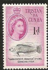1960 TRISTAN DA CUNCHA 1 PENNY UNGEBRAUCHT MARKE FISCH FISH