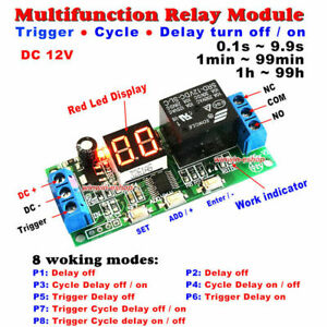 DC 12V LED Display Infinite Cycle Delay Timer Relay Switch ON/OFF Relay Module