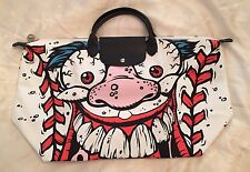 SALE! LONGCHAMP X JEREMY SCOTT Le Pliage Madballs White Baseball Monster Bag LMT