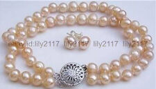 beautiful Handmade 2 row 7-8mm pink pearl bracelet & earrings set