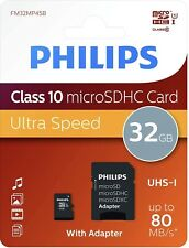 Tarjeta Memoria Philips Micro SDHC Card 32GB Class 10, UHS-I U3 Adapter, 4K