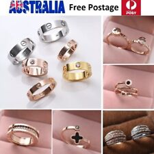 Gold GF Titanium Steel Woman Designer LOVE Couples Wedding Ring CZ Size 6-8 SG45