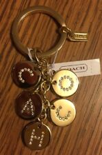 Coach Key Chain Gold Crystal Rhinestones Letters Charm Keychain F69939 $68 NWT