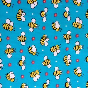 Bundle Remnant Polycotton Fabric 35 cm x 112 cm  BUSY BUMBLE HONEY BEE BLUE
