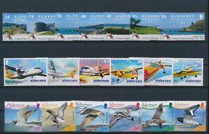 LN27241 Alderney birds aviation aircraft fine lot MNH